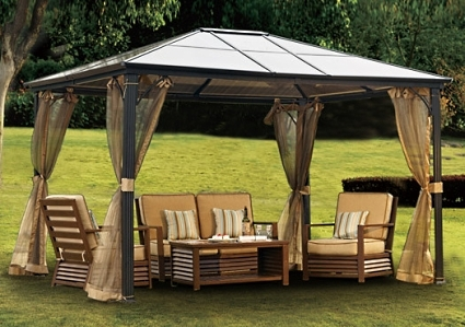 10 X 12 Outdoor Hardtop Polycarbonate Roof Patio Gazebo W Netting Metal Frame