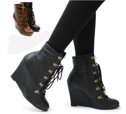 b79080923de Winter Military Ankle High Heel Wedge Boots