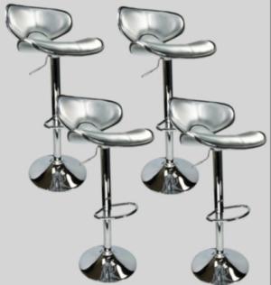 4 Swivel Silver Retro Leather Modern Adjustable Hydraulic Bar Stool