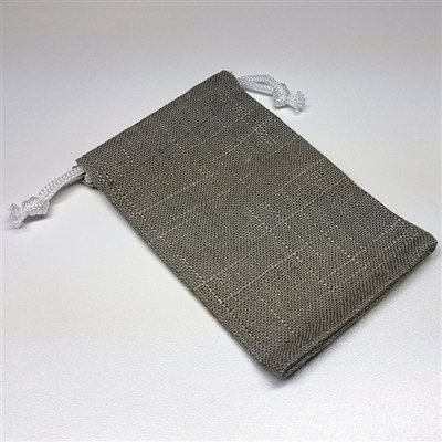 Grey Linen Drawstring Pouches