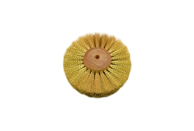 "Crimped Brass Wire Brush, 4 Rows of Wire, 4"" Diameter"