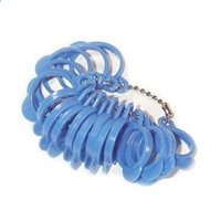 Ring Sizer Gauge Blue Plastic 1-15 (+1/2)  with tabs