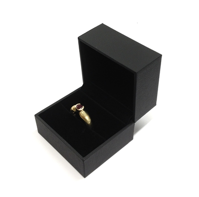 Black Stippled Leatherette Ring Slot Box with Velvet Inside