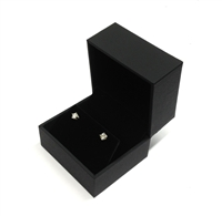 Black Stippled Leatherette Earring Box with Velvet Inside