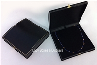 Necklace Box Roll Top Black Leatherette
