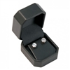 Earring Box Tall Round Corners Black Leatherette