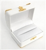 Double Ring Box White with Gold Corners/Clasp