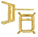 Ear Stud Rectangle Double Gallery 14KT Priced per piece