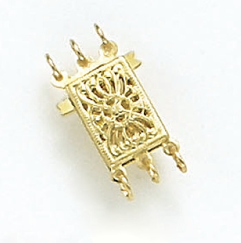 Gold Rectangular 3-Strand Filigree Pearl Clasp