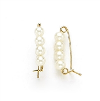 14 Karat Yellow Gold Pearl Shortener with 4 Pearls
