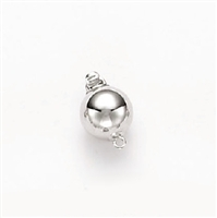14 Karat White Gold 10mm Ball Clasp Single Strand