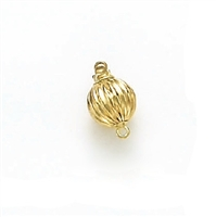 14 Karat Yellow Gold Corrugated 9mm Ball Clasp