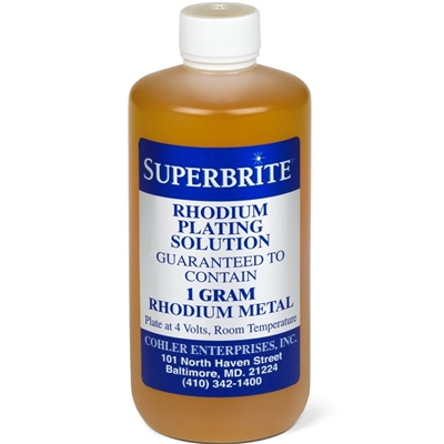 Cohler SuperBrite Rhodium Plating Bath - 1 Gram Solution