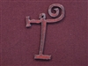 Rusted Iron Initial T Pendant