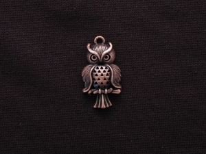 Charm Antique Copper Colored Serious Owl