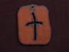 Rusted Iron Retro Tag With Cross Pendant