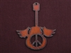 Rusted Iron Guitar With Wings And Peace Cut Out Pendant