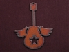 Rusted Iron Guitar With Wings And Star Cut Out Pendant
