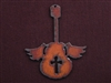 Rusted Iron Guitar With Wings And Cross Cut Out Pendant