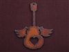 Rusted Iron Guitar With Wings And Heart Cut Out Pendant
