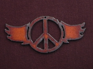 Rusted Iron Peace With Wings Pendant