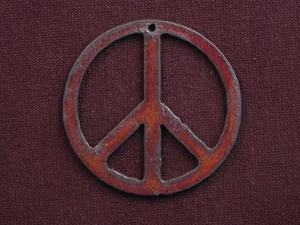 Rusted Iron Peace Sign Pendant