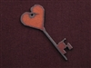 Rusted Iron Key With Heart End Pendant