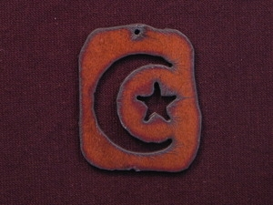 Rusted Iron Retro Tag With Moon And Stars Pendant