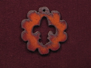 Rusted Iron Scallop With Fleur De Lis Cut Out Pendant