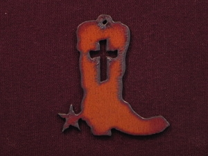Rusted Iron Cowboy Boot With Cross Pendant