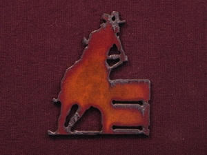 Rusted Iron Barrel Racer Pendant