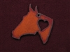 Rusted Iron Horse Head With Heart Pendant