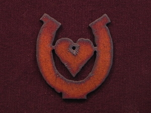 Rusted Iron Horseshoe With Heart Pendant