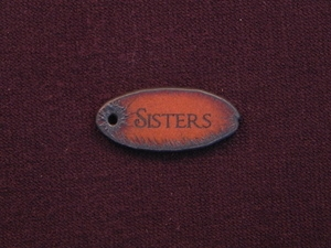 Rusted Iron Oval Sisters Pendant With One Hole