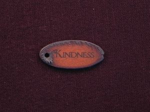 Rusted Iron Oval Kindness Pendant With One Hole