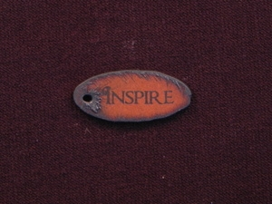 Rusted Iron Oval Inspire Pendant With One Hole