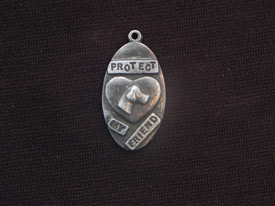 Protect My Friend With Vintage St Francis (Patron Saint Of Animals) Antique Silver Colored Tag