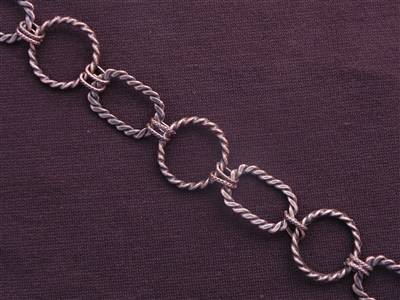 Handmade Chain Antique Copper Colored Twisted Rings & Ovals