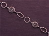 Handmade Chain Antique Copper Colored Etched Discs, Ovals & Rings