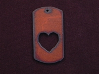 Rusted Iron Dog Tag With Heart Cut Out Pendant