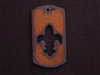Rusted Iron Dog Tag With Fleur De Lis Cut Out Pendant