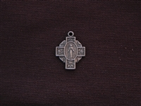 Small Vintage Mary On Cross With Roses Replica Medallion Antique Silver Colored