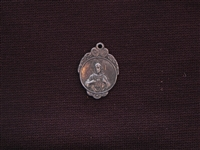 Small Vintage Sacred Heart Of Jesus Replica Medallion Antique Silver Colored