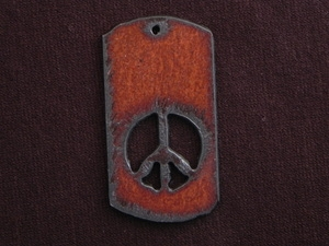 Rusted Iron Dog Tag With Peace Cut Out Pendant