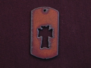 Rusted Iron Dog Tag With Cross Cut Out Pendant