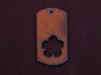 Rusted Iron Dog Tag With Flower Cut Out Pendant