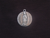 Vintage Our Lady Guadalupe Antique Silver Replica Medallion