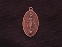 Vintage Replica 1800's Oval Mother Mary Antique Copper Colored Pendant