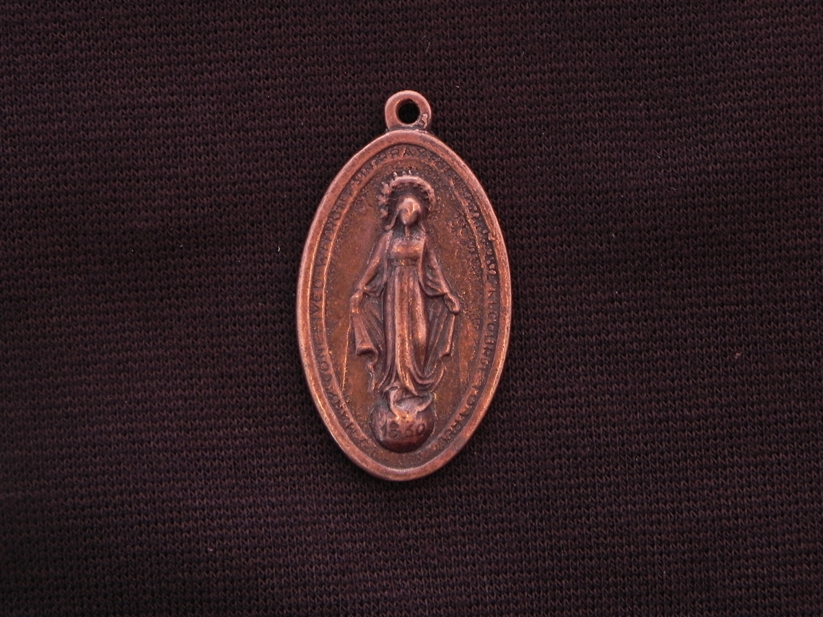Vintage replica 1800s oval mother mary antique copper colored pendant aloadofball Image collections