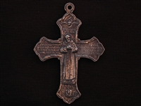 Large Vintage Replica St Francis & St Anthony Cross Medallion Antique Silver Colored Pendant